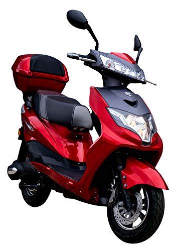 "Elektroroller ""EAGLE"", 2000 Watt, 60 km Reichweite, 45 km/h, E-Scooter, Elektro-Roller, E-Roller mit Straßenzulassung, E-Mofa, Blei-Gel-Akku, Produktvideo, Rot"