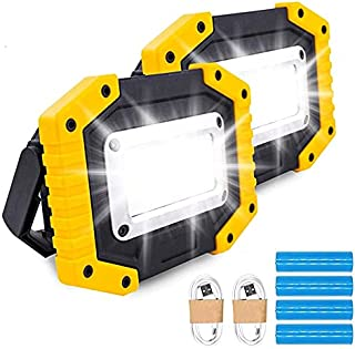 Trongle LED Rechargeable Work Lights, 30W Floodlight Battery Security Light with 3 Modes Outdoor COB Camping Lights with U...