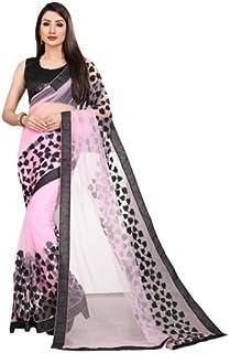 Neerav Exports Embroidery Net Work Saree (Baby Pink)