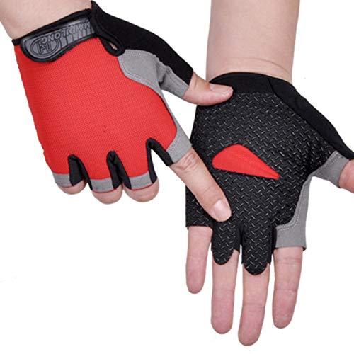 Guantes de ventilación antideslizantes para hombre y mujer, con ventilación de medio dedo, a prueba de golpes, para deportes