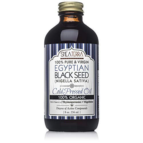 Shea Terra Egyptian Black Seed Cold Pressed Extra Virgin Oil | All Natural & Organic Oil to Boost Immune System, Improve Hair Growth & Skin Tone, Manage Chronic Dry Skin, Eczema & More - 8 oz