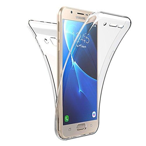 JAWSEU Cover Compatibile con Samsung Galaxy J1 2015 Custodia Case Silicone Trasparente, [360 Gradi] Protezione Completa Morbida Silicone Custodia Ultra Sottile Flessibile Bumper Protettiva Cover