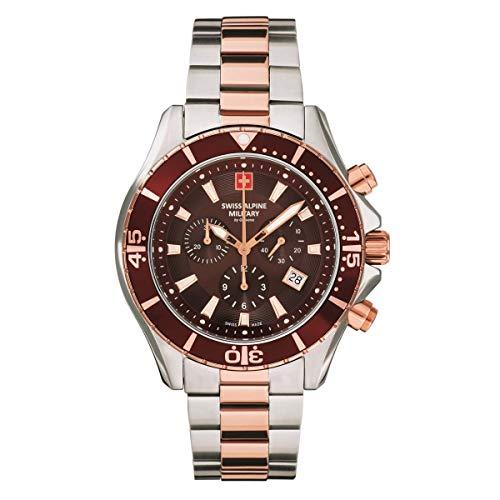 Swiss Alpine Military 7040 - Reloj cronógrafo para hombre (analógico, cuarzo, acero inoxidable, 10 ATM)