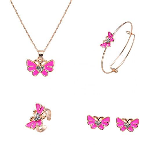 WDBUN Collar Colgante Joyas Bebé de los niños joyería Exquisita aleación Goteo Mariposa Conjunto Collar Pendientes Anillo cumpleaños Fiesta Regalo