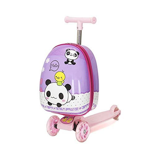 Mdsfe Cute Cartoon kids scooter suitcase on wheels Lazy trolley bag children carry on cabin travel rolling luggage Skateboard bag gift - 11.16'