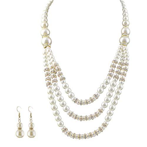 Mecool, collana multistrato e orecchini con perle sintetiche