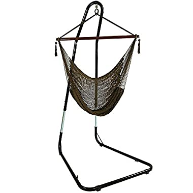 Sunnydaze Hanging Rope Hammock Chair Swing with Adjustable Stand, Extra Large Caribbean, Mocha - For Indoor or Outdoor Patio, Yard, Porch, and Bedroom