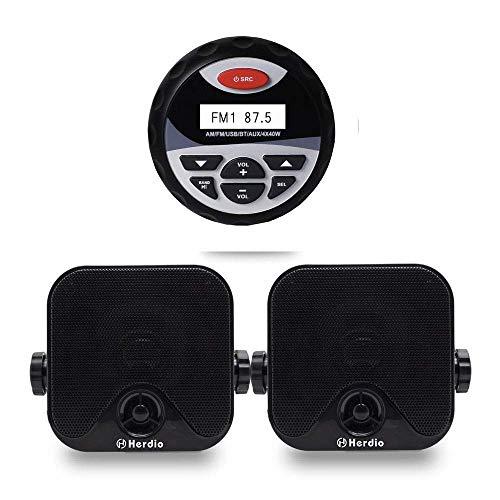 Herdio Receiver/Speaker Package, Bluetooth, MP3/USB AM/FM Marine Stereo Bundle for Boat ATV UTV SPA.