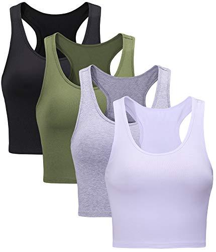 Suyye Damen 4 Stück Crop Tank Tops Yoga Raceback Sport Workout Basic Baumwolle Top - - Medium