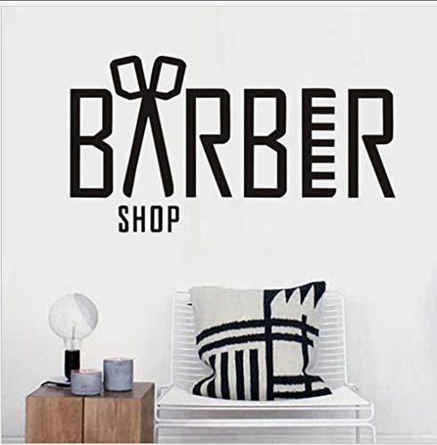 JHLP Muursticker Barber Shop Raamdecoratie Engels Schaar Zwart Sticker 19x59cm