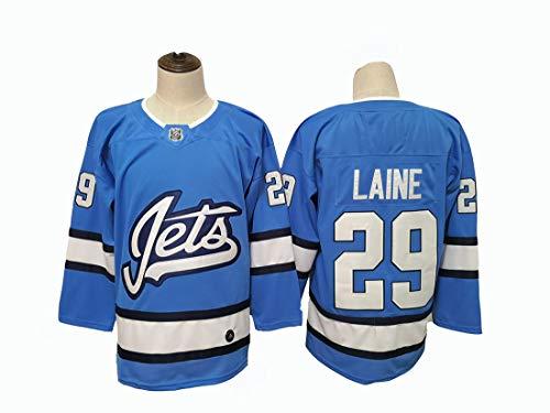 Patrik Laine # 29 Hockey Trikot Jet Team Hockey Blau Genähte Buchstaben Zahlen NHL Long Hockey Ghiaccio Trikot,XXL
