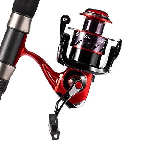 Guo-Me Rueda de pesca de 10 ejes anti-mar carrete de pesca de alambre de metal carrete de pesca doble rodamiento de caña de mar rueda de pesca (color: rojo, tamaño: 5000)
