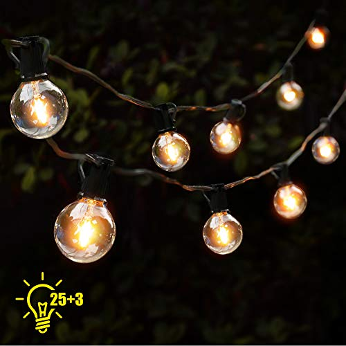 Lichterkette Glühbirnen G40 Gartenleuchte Netzbetrieben wasserdicht, 28 Birnen 5W, warmweiß Licht Girlande Lichterkette Außen Retro für Hochzeit Geburtstag Party 7.62 m