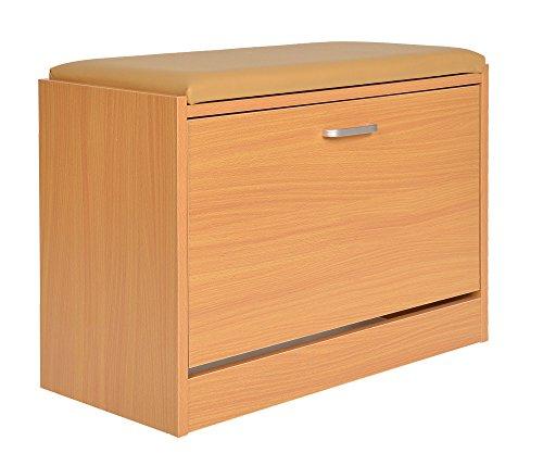 ts-ideen Schuhschrank Sitzbank Schuhkipper Hocker Schuhbank Regal Bad Flur Diele Standregal Holz Birke 3 Fächer Sitz