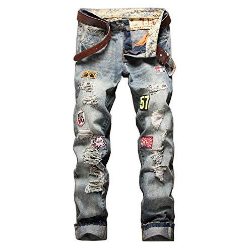 Beastle Pantalones Vaqueros para Hombre Otoño/Invierno Europeo y Americano Pantalones Vaqueros Rasgados con Personalidad Moda de Moda Pantalones Vaqueros de Talla Grande 33W