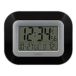 La Crosse Technology WT-8005U-B-INT WT-8005U-B Atomic Digital Wall Clock with Indoor Temperature, Black, 8.95