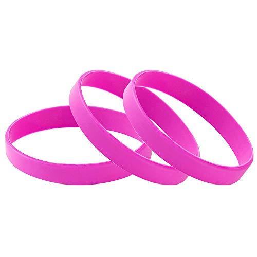 Vitalite 100pcsset Plain Silicone Wristbands Blank Rubber Bracelets for Children Rose