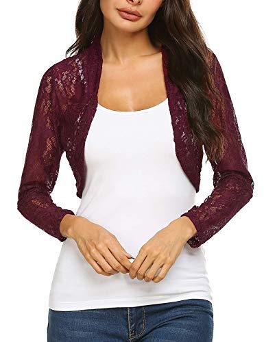Grabsa Women's 3 4 Sleeve Lace Shrugs Bolero Cardigan Crochet Sheer Crop Jacket Purple