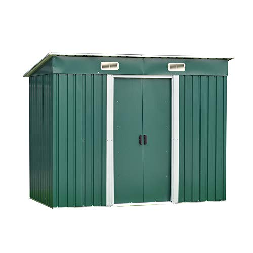elevenfurniture 8 x 4ft Tool Storage House Metal Garden Apex Roof Storage Shed (Green)