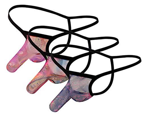 Yomie Estilo Bohemio de los Hombres Impresión Transparente Cómodas y Atractivas Tangas Calzoncillos Coloridos con Forma de Elefante