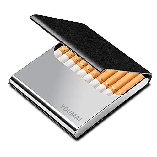 Portable Slim Leather Cigarette Case Ultrathin Lightweight Pocket Carrying Box for Hold 10 Regular Size (Black)
