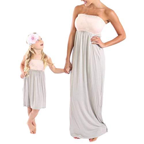 LUCKDE Partnerlook Mutter Tochter Kleid Festlich Sommerkleid Mama Kind Kleid Matching Sets Freizeitkleider Strandkleid Outfit Familie Passende Kleidung