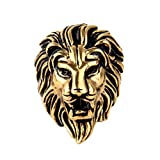 OAKKY Joyería de los Hombres Acero Inoxidable Dominador Cabeza de León Anillos, Vendimia, Oro Tamaño 17