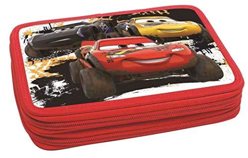Cars Federtasche rot mit Füllung Pencilcase Federmäppchen Einschulung 2 Etagen Doppel RV extreme racing series 1.Klasse Jungen