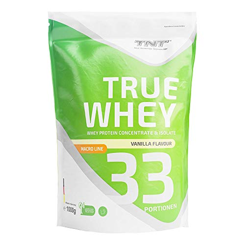 True Whey – 1kg Whey Protein Isolate Pulver – Eiweißpulver aus Molke – Proteinpulver, Eiweiß-Shake (Vanilla)