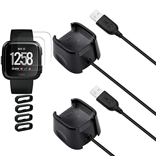 2PACK for Fitbit Versa Charger,Lite Special Edition Charger, Charging Dock Cord Stand and 2Pcs Free HD Tempered Glass Screen Protector and 4Pcs Band Keeper Smart Watch