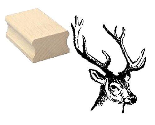 Stempel HIRSCH KOPF - Motivstempel aus Buchenholz