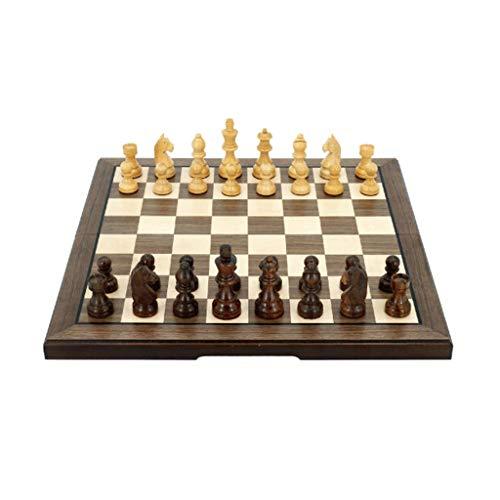 Ajedrez Conjunto de ajedrez Hecho a Mano de Madera Maciza Juego Profesional Plegable para Regalos para niños y Adultos Regalo de ajedrez (Color : Wood Color, tamaño : 40x40cm/15.7x15.7 Inch)