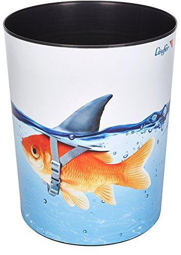 Läufer 26660 Papierkorb Goldhai, 13 Liter Mülleimer, perfekt für das Kinderzimmer, rund, stabiler Kunststoff, verschiedene Motive