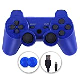 PS3 Controller, Wireless Controller Double Vibration Gamepad Compatible with Playstation 3, Controller with Charging Cable (Renewed)