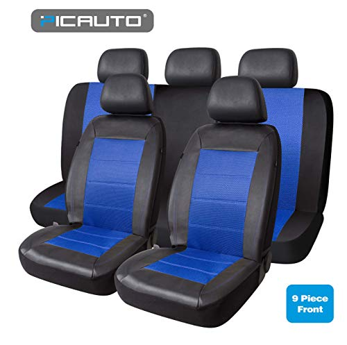 PIC AUTO Mesh and Leather Car Seat Covers Full Set Universal Fit 9PCS(Blue)…