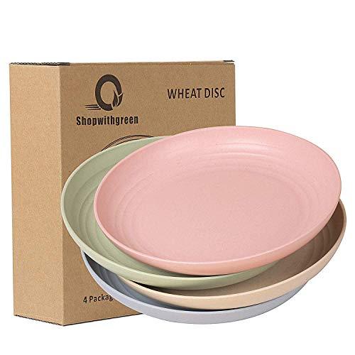 shopwithgreen Weizenstrohfasern Teller | 4er Set 22.3 cm Abbaubar Gesunde Teller/Essteller/Menü-Teller,Mikrowellen & Spülmaschinenfest Dinner Geschirr-Ohne BPA & Umweltfreundlich