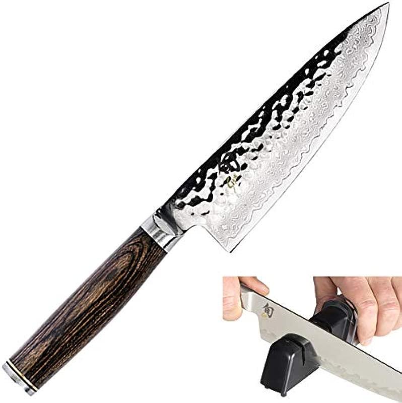 Shun TDM0723 Premier Chef S Knife 6 Inch Kai Diamond And Ceramic Retractable Knife Sharpener Bundle