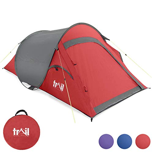 2 Person Pop Up Tent, Lightweight 2 Man Festival Camping Tent, Easy & Fast To Pitch, Water Resistant, 1500m Hydrostatic Head, Compact Carry Bag, L216cm x W118cm x H90cm, Trail