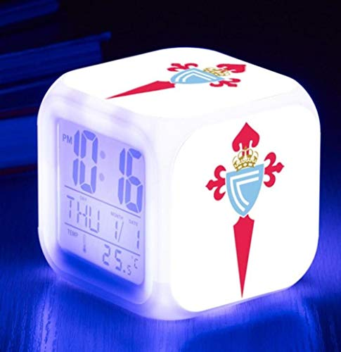 Celta Vigo Football Club Despertador Niños - Despertador Digital Led Fácil de Configurar Relojes de Cubo Luz Nocturna Gran Pantalla Reloj de Dormitorio Adulto Chico Chica Regalos