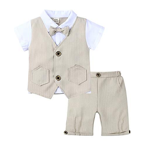 Baby Gentleman pak zomer zuigelingen, kinderkleding Gentleman Suit, korte mouw knappe tweedelige gebreide katoenen shirt + strikje (1~3 jaar oud, 80~100 cm)