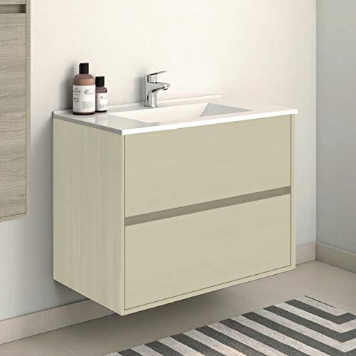Mueble de baño Suspendido con Lavabo de Porcelana - con 2 Cajones - El Mueble va MONTADO - Modelo SADO (60cms, Taiga)