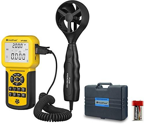 Holdpeak Tragbares Anemometer HP-856A für HVAC, Luftstrom-Bereichsteuerung, CFM-Ventilator mit Lufttemperatur und Hintergrundbeleuchtung, Datenspeicherung und USB-Port