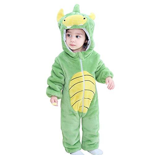 MICHLEY Baby Strampler mit Tier Kapuze Overall Mädchen und Junge Jumpsuit Bekleidung, Dinosaurier 2-5 Monate