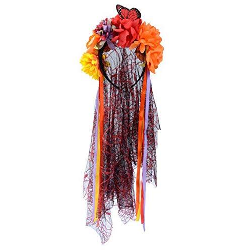 Falliback Haarreif, Rosa, aus Spitze, Blumenschleier, für Damen & Mädchen, mit Girlande für die Fotografie von Halloween, 3 Farben Wondeful B