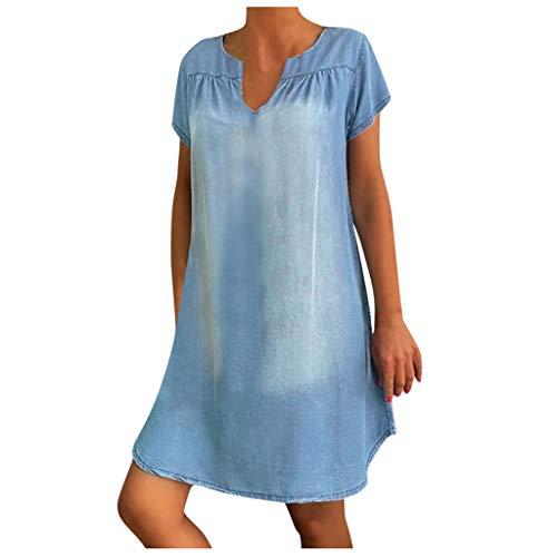 VICKY-HOHO Damen Baggy Tunika Kleid Sommerkleid Jeanskleid Jeanshemd Kleid Etuikleid, Frühling und Sommer Kurzarmkragen gewaschenes Jeans knielanges Kleid