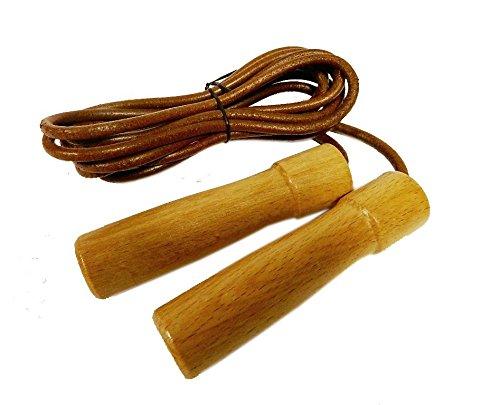 Best Sporting Springseil aus Leder mit Holzgriffen - für Ausdauertraining. Länge 290 cm