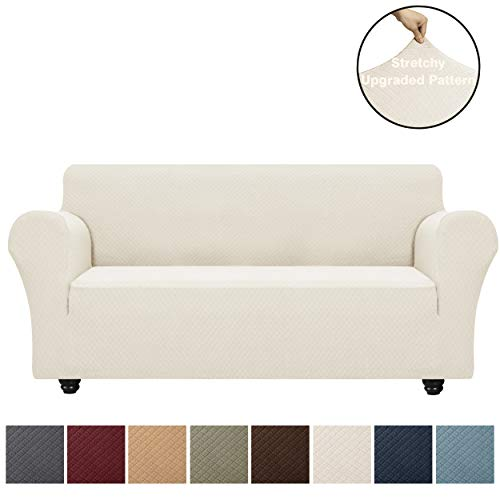 OBYTEX Couch Cover Stretch Sofa Slipcover Soft Jacquard Sofa Cover Furniture Protector for Living Room Large Cream