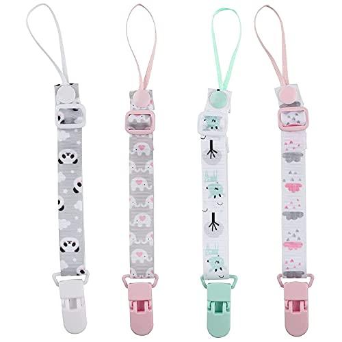 Zeaye 4piezas de cadena de chupete para bebé,cadena de chupete para niños y niñas,cuerda de chupete con clip de animal,adecuada para todos los juguetes de dentición de bebé con chupete,baby shower