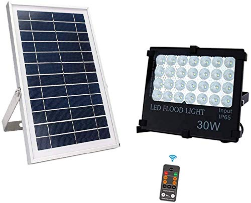 GANE Solar Flood Lights Outdoor Dusk to Dawn IP66 Waterproof 800LM LED Solar Panels with 5m Cable, Timing, Dimmable Brightness, Remote Control Solar Security