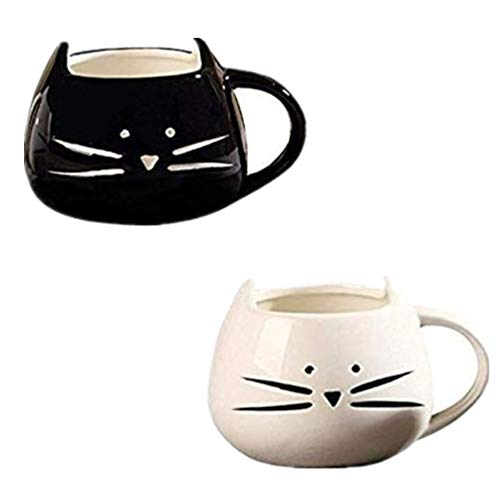 Adkwse 2 Stücke Kaffeebecher Katze Tassen Keramik Nette Porzellanbecher Tee Tasse Kaffeetasse Teebecher